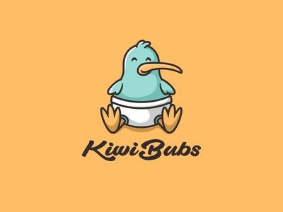 KiwiBubs negativespace character animal icon cute mascot illustration logo diapers baby birds kiwi