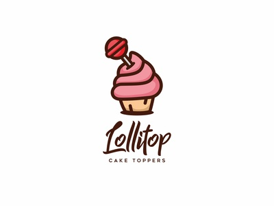 Lolitop flat design cute character mascot illustration logo bakery cake candy lollipop