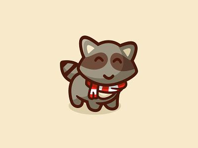 Raccoon cute mascot unused illustration logo animal character cartoon winter raccoon
