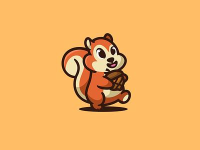 Squirrel forsale unused logo illustration character mascot animal icon cute nutshell nut squirrel
