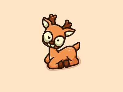 Little Deer cartoon character animal icon cute mascot unused illustration logo deer logo baby deer