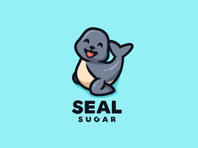 SEAL SUGAR cute forsale fish animal character mascot logo children child baby penguin shark whale walrus seal