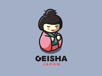 Geisha Japan character icon animal cute unused mascot illustration logo doll girl woman japan geisha