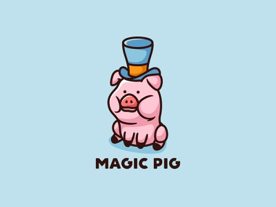 Magic Pig petshop dog cat baby forsale mascot character icon animal cute piggy pig magic