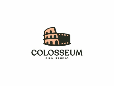 COLOSSEUM FILM STUDIO abstract dual meaning negativespace icon building flat design branding forsale unused logo studio film movie italy colosseum