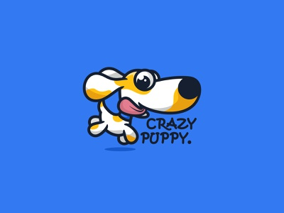 Crazy Puppy character icon animal cute unused mascot illustration logo crazy pet cat dog puppy