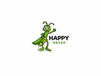 Happy Grass branding character icon animal mascot forsale illustration logo grasshopper lawncare lawn grass