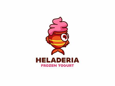 Heladeria Frozen Yogurt negativespace dog branding character illustration animal cute mascot logo ice cream fish