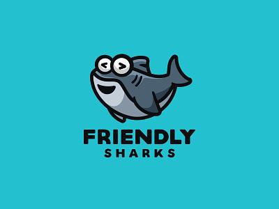 Friendly Sharks illustration baby logo cartoon branding character fish animal cute mascot code dolphin shark