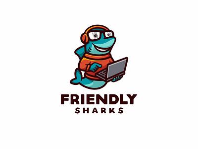 Friendly Sharks branding animal cute logo character mascot tech laptop geek nerd fish dolphin