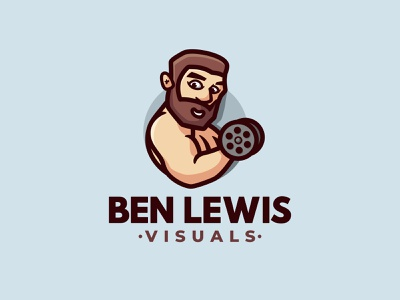 BEN LEWIS VISUALS video cartoon illustration negativespace logo character mascot strong beard man dumbell photography gym fitness muscle