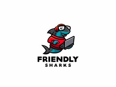 Friendly Sharks branding animal cute character mascot illustration logo laptop geek nerd fish dolphin shark