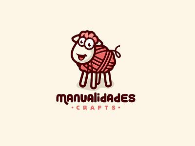Manualidades Crafts branding baby character animal cute mascot illustration logo yarn knitting knit sheep