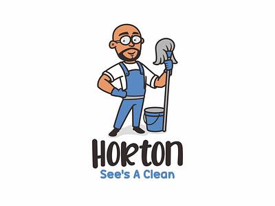 Horton See s A Clean animal cartoon cute branding apron glasses beard bald character mascot illustration logo cleaning clean