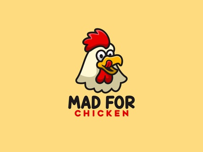 MAD FOR CHICKEN cartoon baby icon character animal cute mascot illustration logo chef roaster chicken