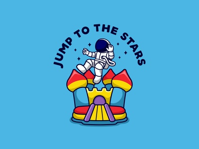JUMP TO THE STARS character animal cute mascot bounce house bounce illustration logo space astronaut