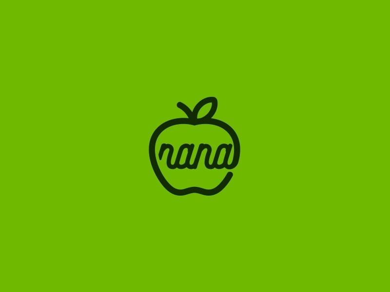 Nana typography unused design logoforsale illustration fresh design logo fruit apple nana