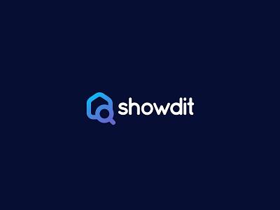 Showdit logo illustration logo gradient modern building real estate lup home