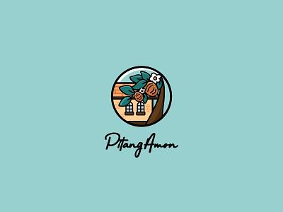 Pitang Amon illustration logo flower village house home fruit pitanga