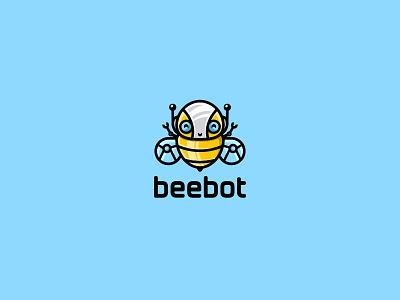 Beebot yellow cute unused illustration logo robot bee