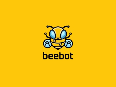 Beebot second concept yellow cute unused illustration logo robot bee