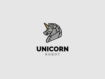 Unicorn Robot unused illustration for-sale logo metal bee robot unicorn