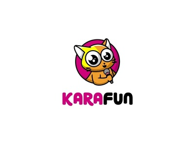 Kara fun cute illustration logo karaoke mascot singging cat