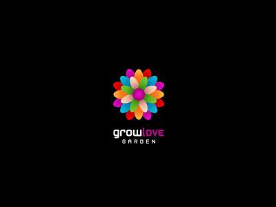 Growlove Garden unused logo flower garden love grow