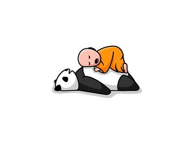 Sleepy Monk cute buddha animal unused design logo sleep panda monk