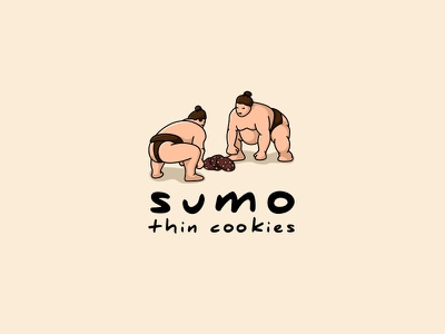 Sumo Thin Cookies illustration logo cute japanese cookies sumo