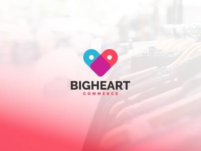 Bigheart Commerce forsale unused mascot illustration logo commerce heart digital onlineshop shopping shop
