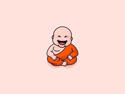 Laughing Buddha character logo icon illustration mascot laughing marijuana weed monk buddha