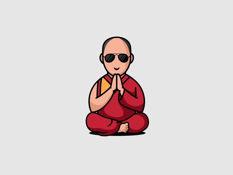 Dalai Lama forsale character icon mascot illustration logo buddha dalai dalai lama
