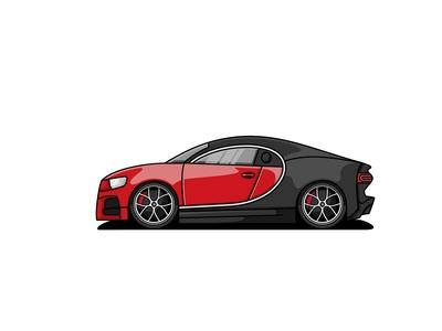 Bugatti Chiron character logo mascot illustration vehicle car veyron chiron bugatti