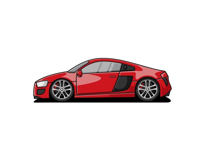 Audi R8 character mascot illustration rims vehicle car r8 audi
