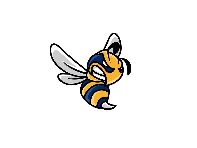 Angry bee character animal logo illustration mascot bee logo angry bee