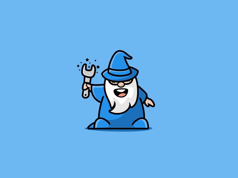 Magic Wrench tools character icon cute unused mascot illustration logo beard magic wrench wizard