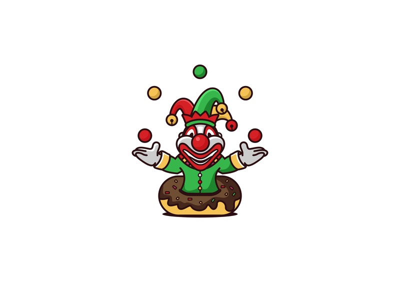 Doughnut Clown vector forsale unused mascot illustration logo character circus doughnut clown