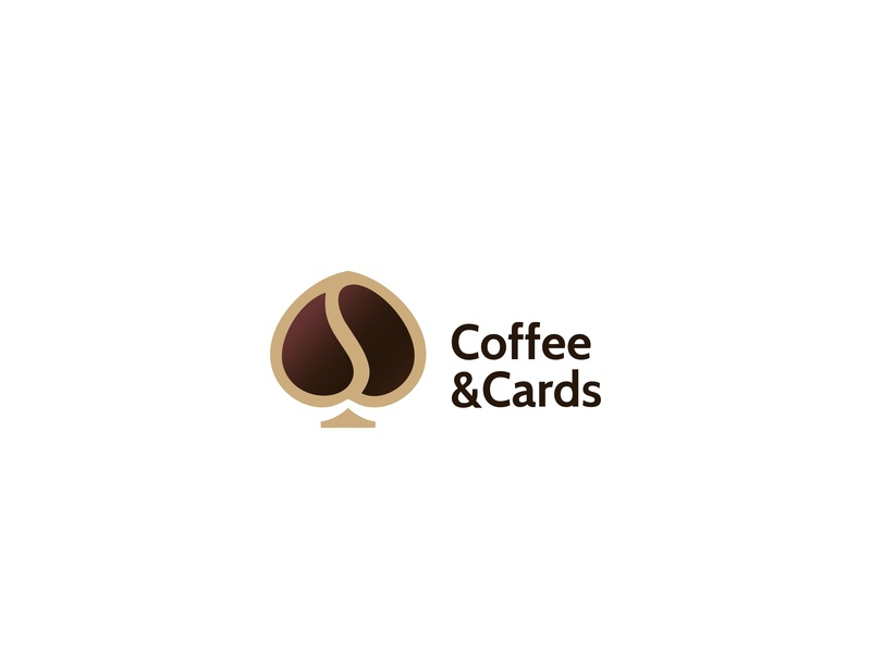 Coffee & Cards negativespace forsale icon unused illustration logo cafe poker cards coffee