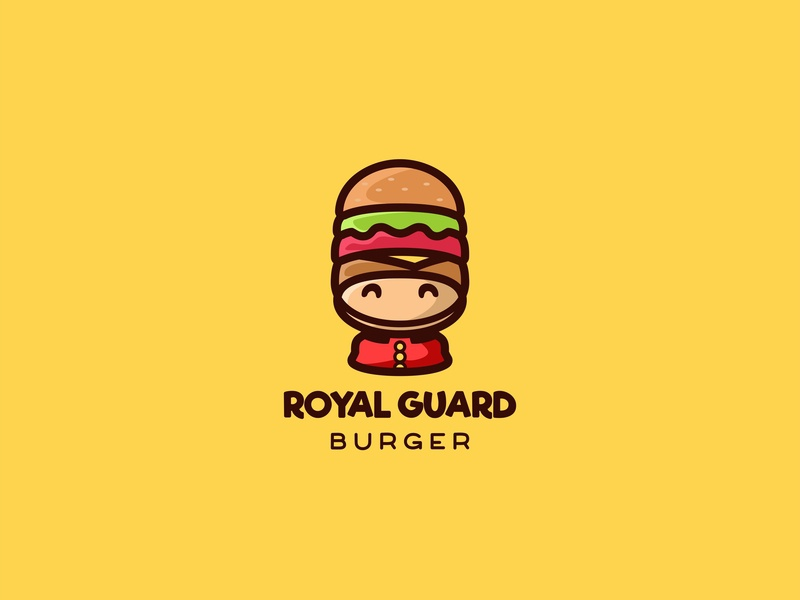 Royal Guard Burger negativespace icon animal unused forsale character cute mascot illustration logo england london hat guard burger royal guard