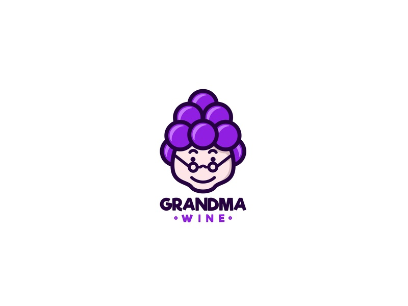 Grandma Wine vector forsale character icon cute unused mascot illustration logo grape wine old grandma