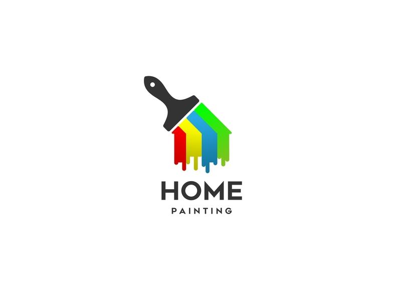 Home Painting monogram negative space icon branding unused illustration logo interior design painting paint home