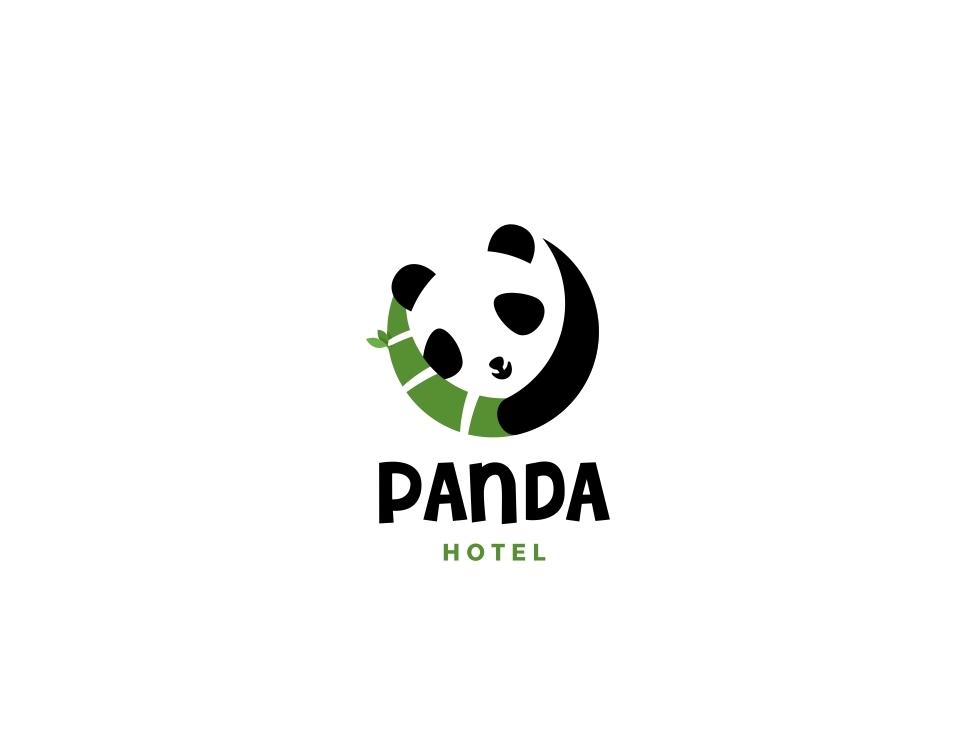 PANDA HOTEL negativespace forsale character icon unused mascot illustration logo animal cute chinese bamboo sleep hotel panda