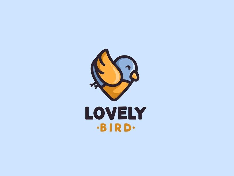 Lovely Bird forsale icon character animal cute unused mascot illustration logo wings heart love bird