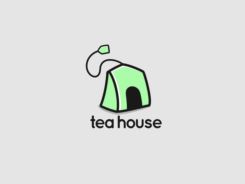 Tea House branding icon illustration logo home house tea bag tea