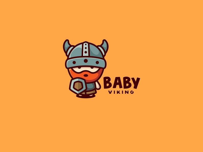 Baby Viking icon character cute unused mascot illustration logo shield viking baby