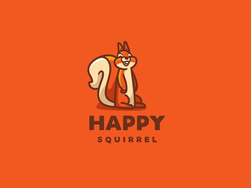 Happy Squirrel illustration vector forsale character animal icon cute unused mascot logo smile happy squirrel