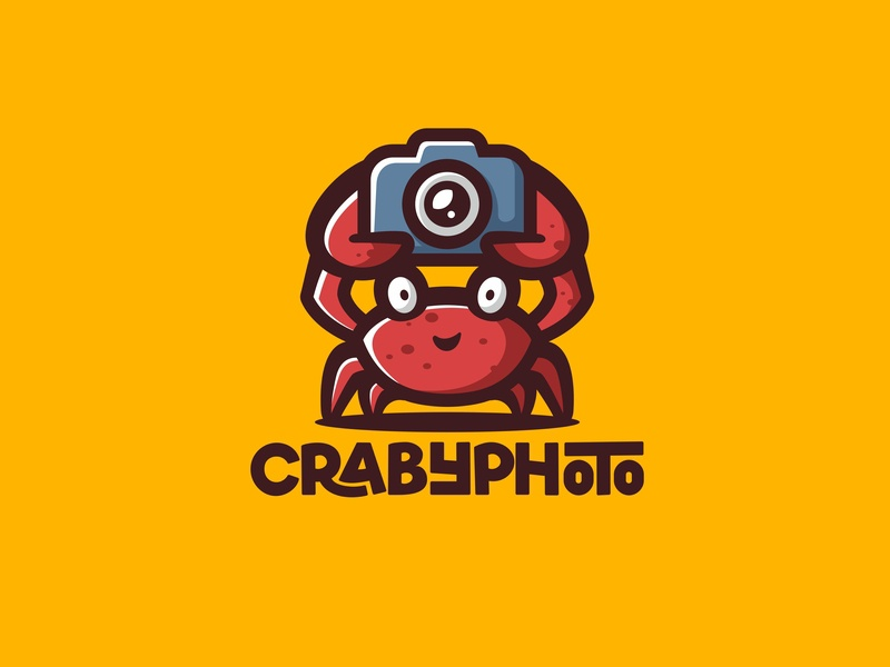 CRABYPHOTO forsale character animal icon cute unused mascot illustration logo media camera photo crabypaty crab