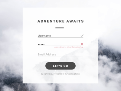 #001 Sign Up adventure dailyui signup