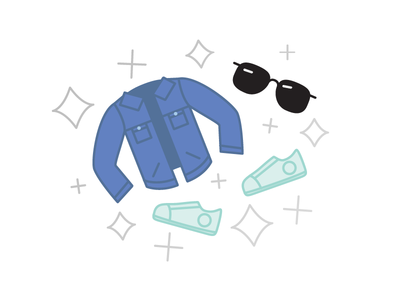 New Gear illustration sunglasses shoes clothes